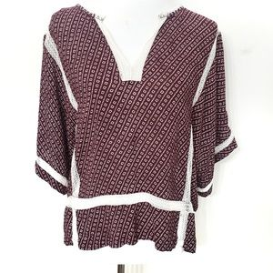Lollys Laundry Maroon & White Argentina Boho Top